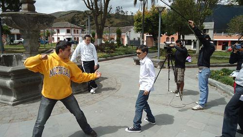 Plaza de la Pileta en Calacalí en una escena de Celmira, la película
