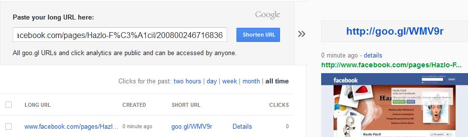 aplicación web de Google para acortar dirección URL