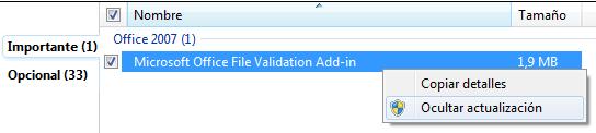evitar instalar el archivo de validación de Microsoft Office