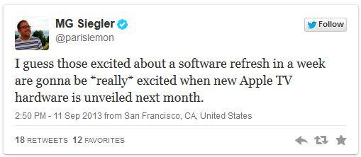 twitter del nuevo Apple TV