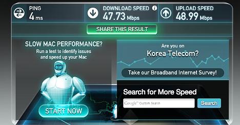 Velocidad de Internet en Corea del Sur 01