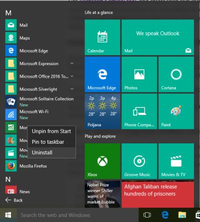 Desinatalar aplicaciones en Windows 10