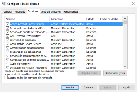 Aplicaciones que se inician con Windows 10