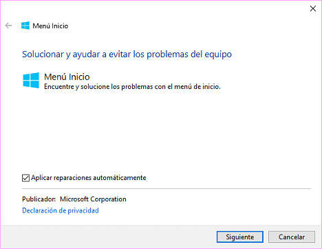 Problemas Menu de Inicio Windows 10