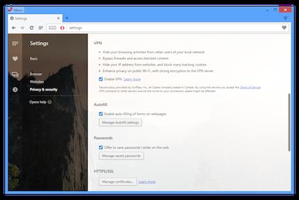 Opera con VPN para ocultar dirección IP