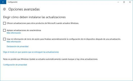 Aplazar actualizaciones Windows 10