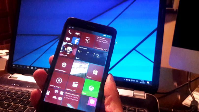 Pantalla de Windows 10 Mobile