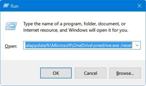 reset OneDrive en Windows 10