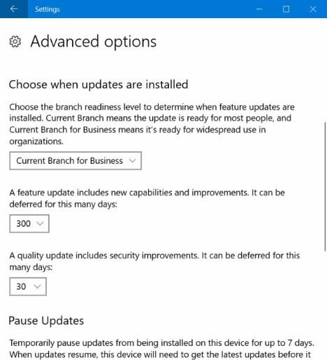 aplazar actualizaciones Windows 10 Creators