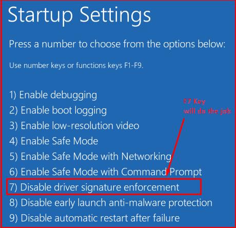 firmado de controladores Windows 10