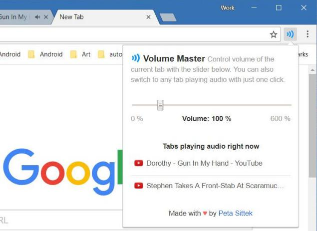 control de volumen en Google Chrome
