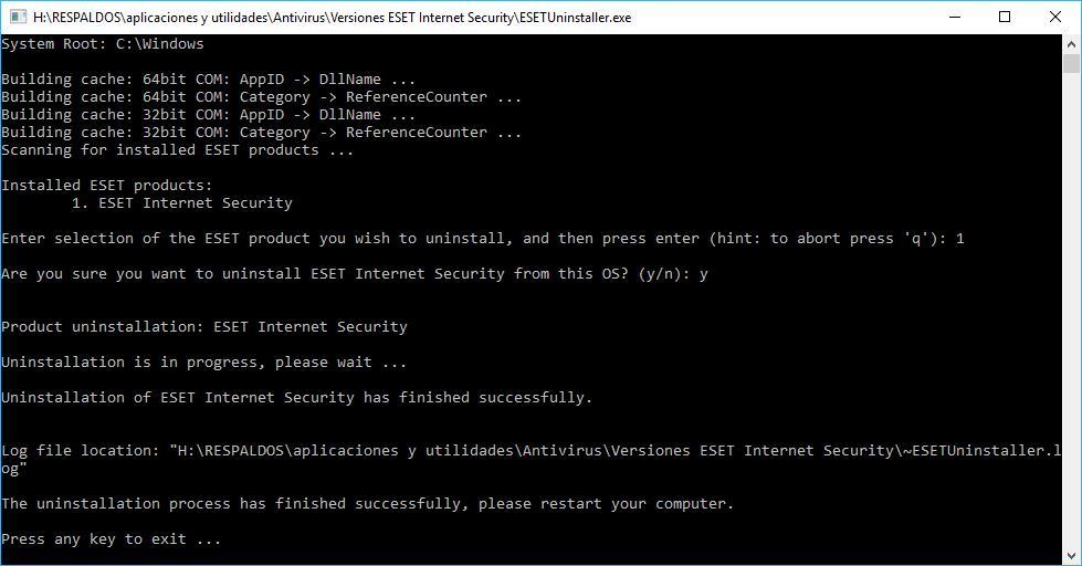 Desinstalar Eset Internet Security