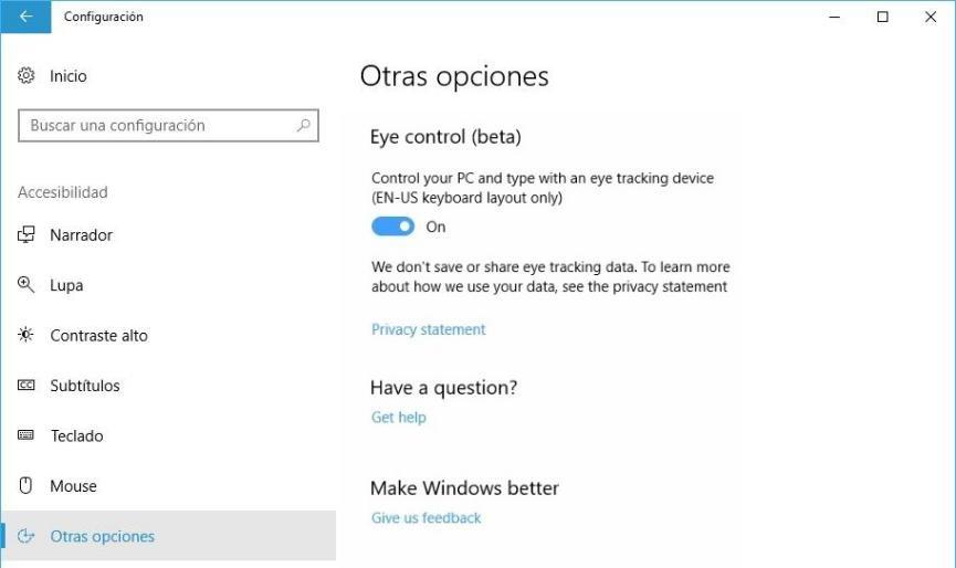 Controlar Windows 10 con los Ojos