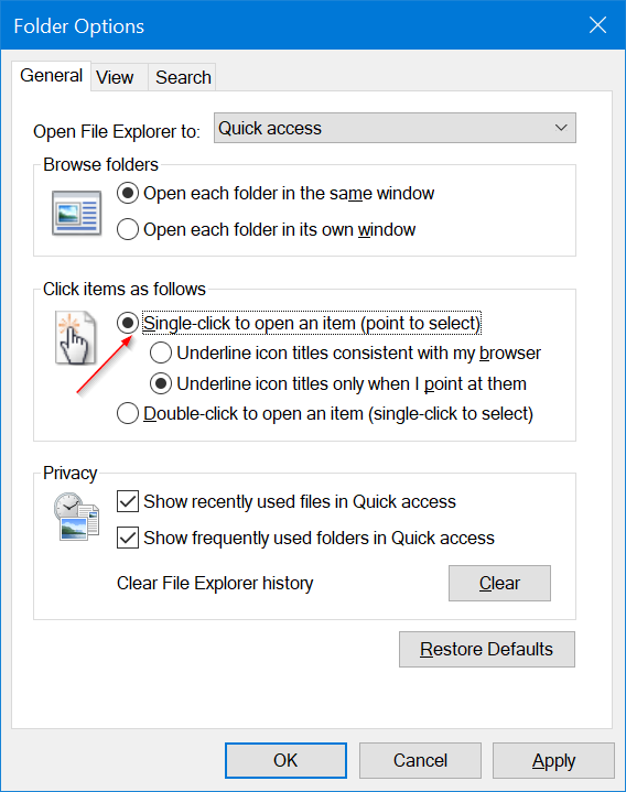 Truco Windows 10 abrir carpetas con 1 click