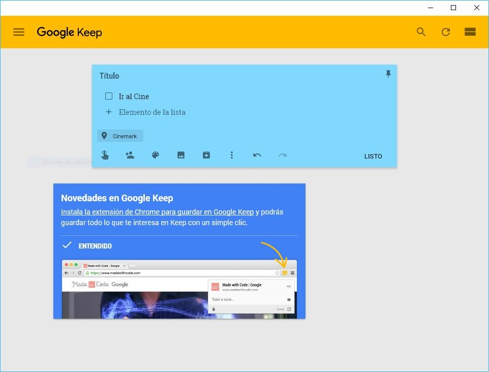 Google Keep de Android en Windows