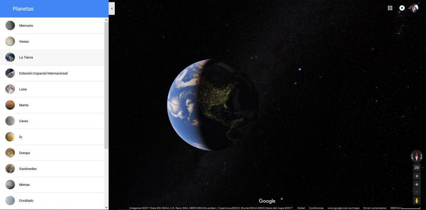 Google Maps en el Sistema Solar