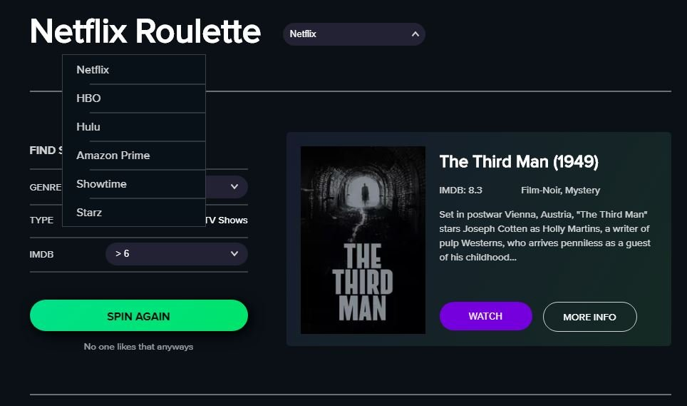 Roulette NetFlix HBO hulu Amazon Prime