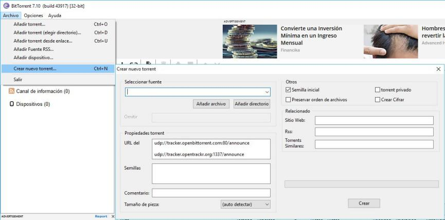 Crear Archivos Torrent con BitTorrent o uTorrent