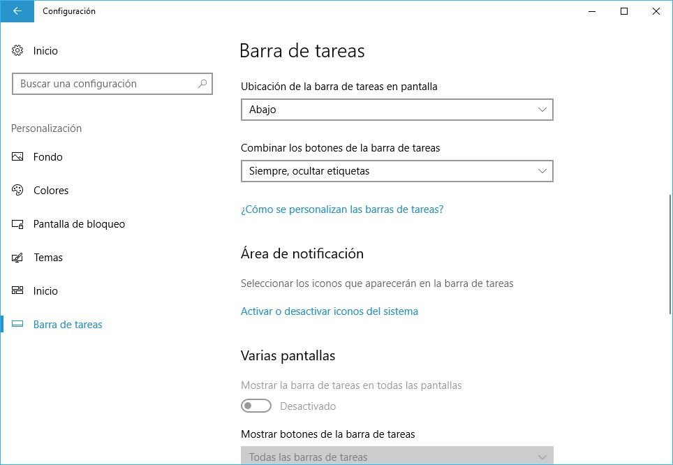 personalizar area de notificaciones Windows 10