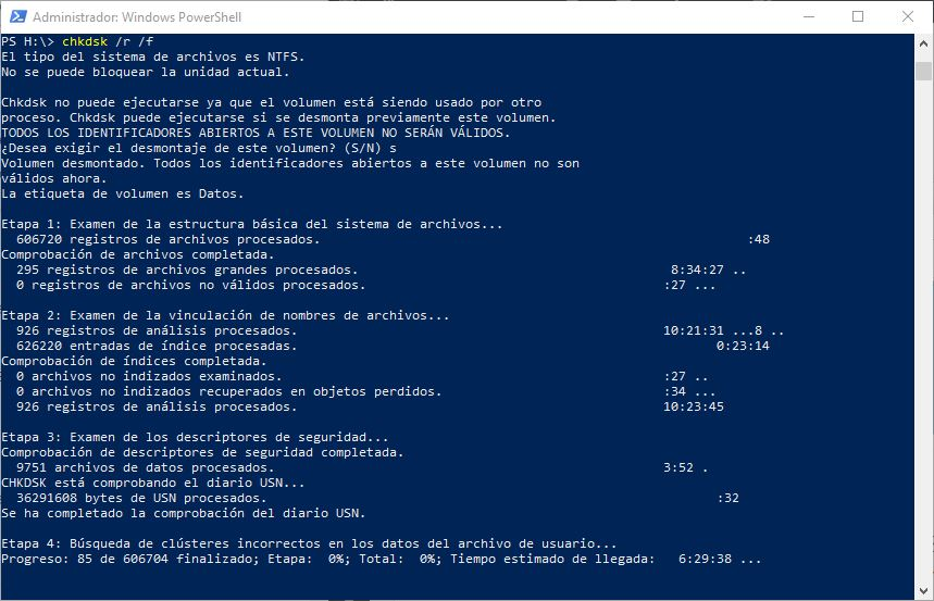 CHKDSK en Windows 10