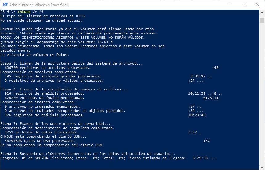 CHKDSK en Windows 10