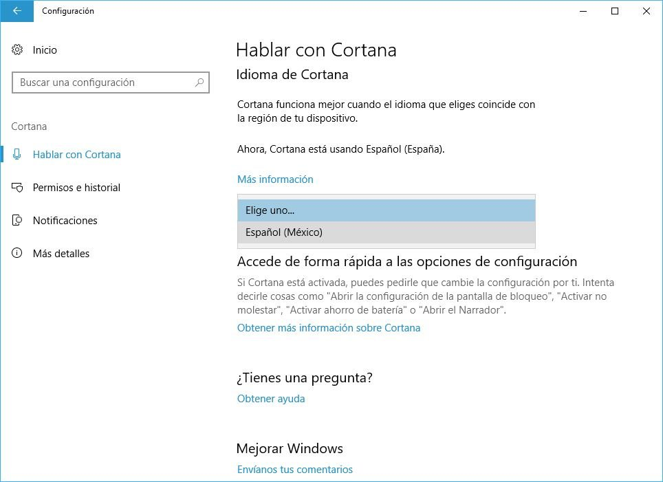 Cortana en Windwos 10