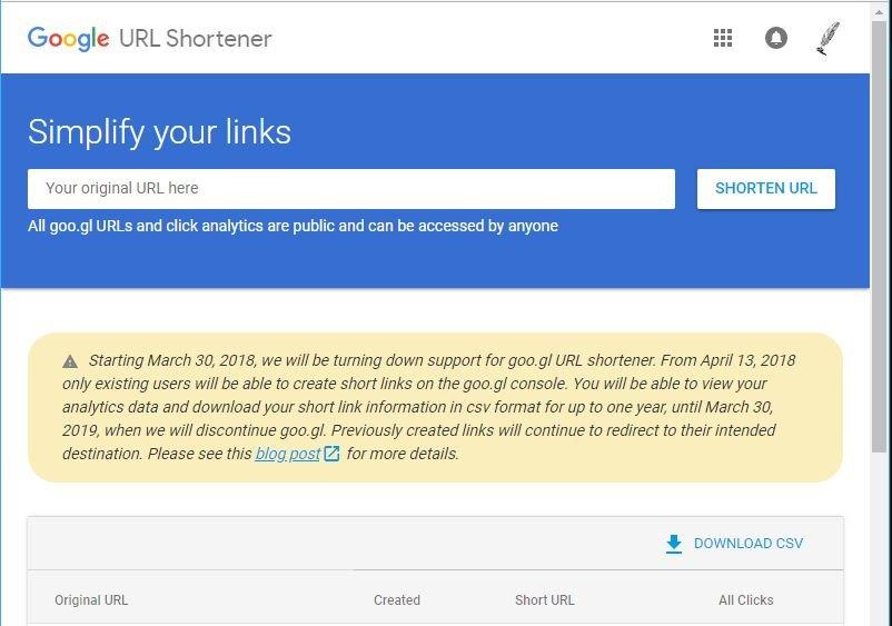 final del acortador de google