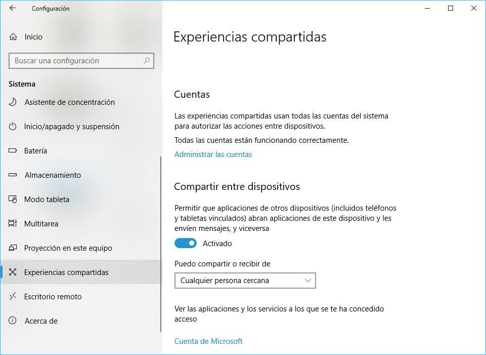 Windows 10 Build 1803 Experiencias Compartidas