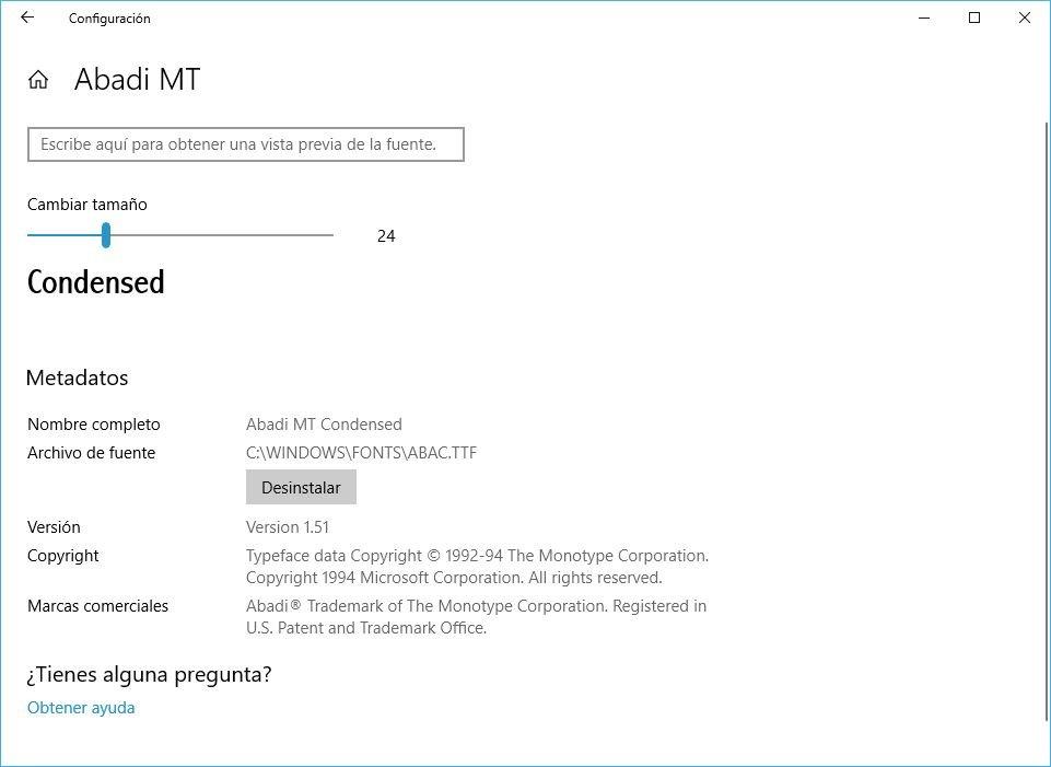 Windows 10 Build 1803 desinstalar fuentes