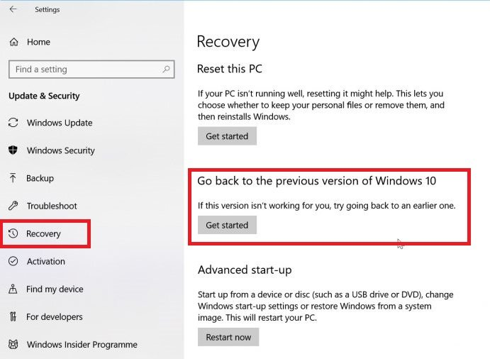 recuperacion en Windows 10