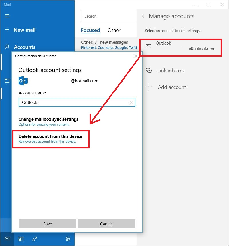 desactivar Microsoft Mail en Windows 10