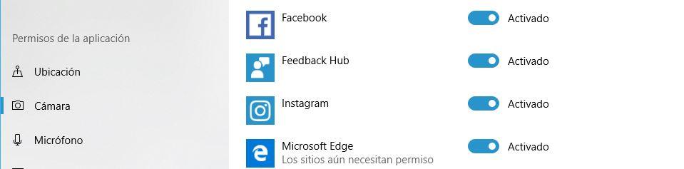 activar camara para Instagram en Windows 10