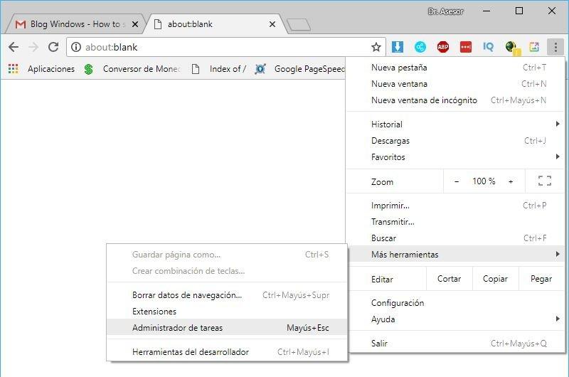 Extensiones de Google Chrome en su Administrador de Tareas