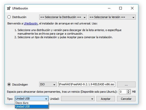 UNetbootin pasar imagen iso a pendrive usb