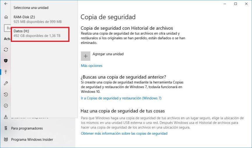 Copias de Seguridad Windows 10