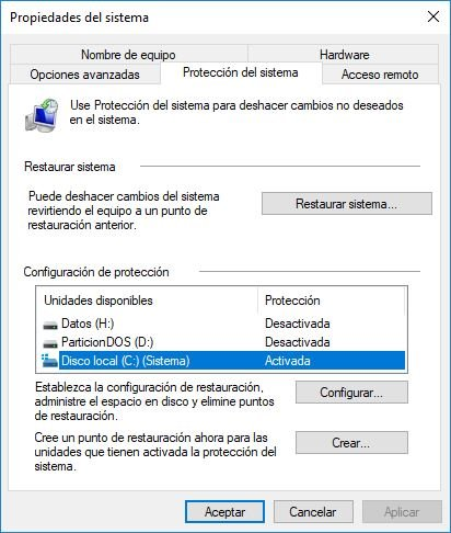crear acceso directo del punto de restauracion en windows 10