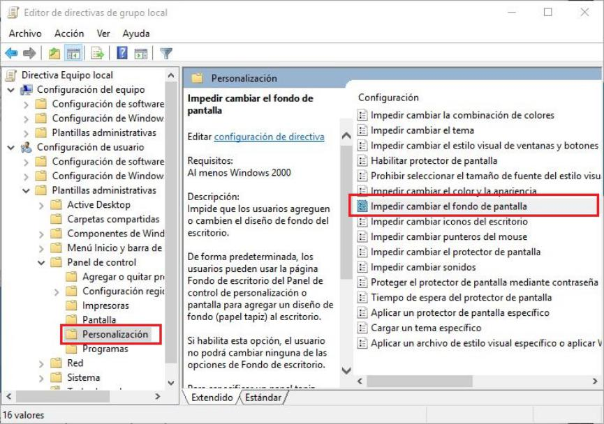 Bloquear fondo de Escritorio en Windows 10