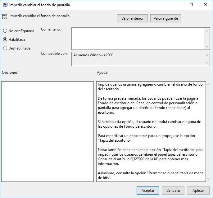 Bloquear fondo de Escritorio en Windows 10