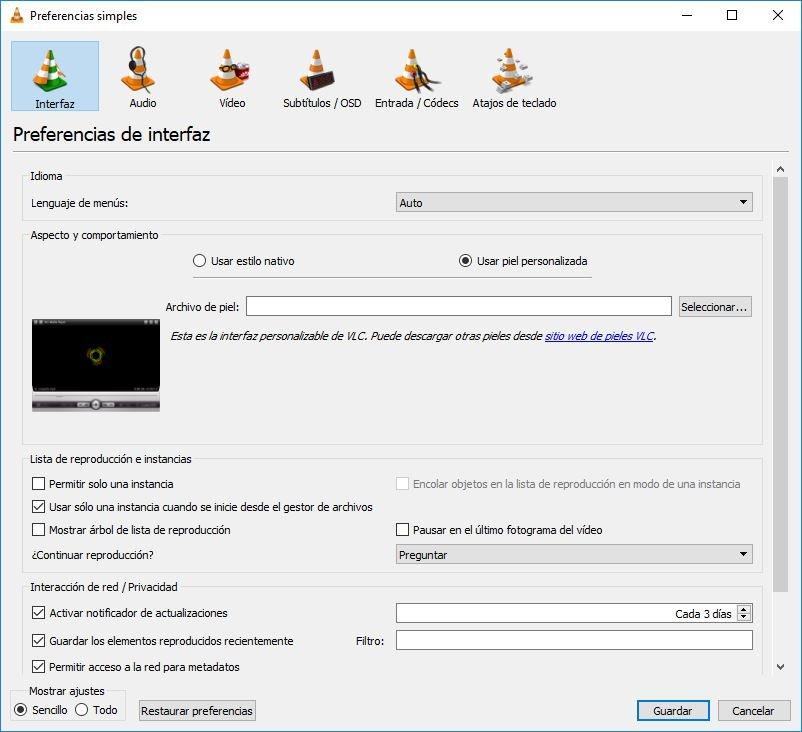 personalizar VLC para Windows