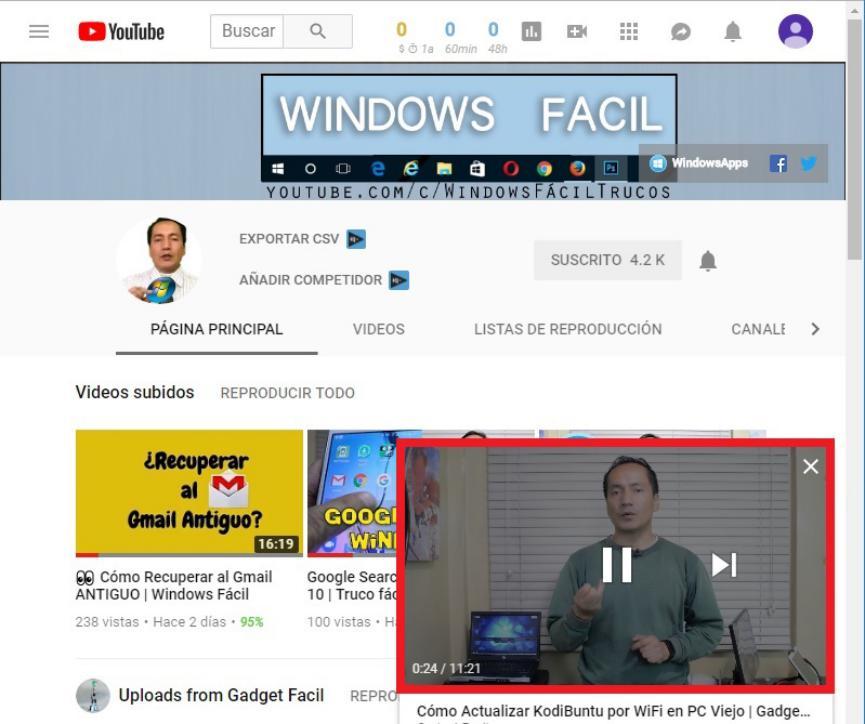 mini reproductor de youtube en Windows 10