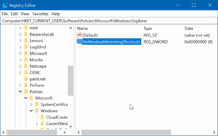 desactivar Aero Shake en Windows 10