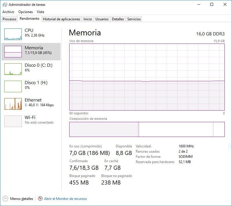 Memoria RAM DDR3 en PC Windwos 10