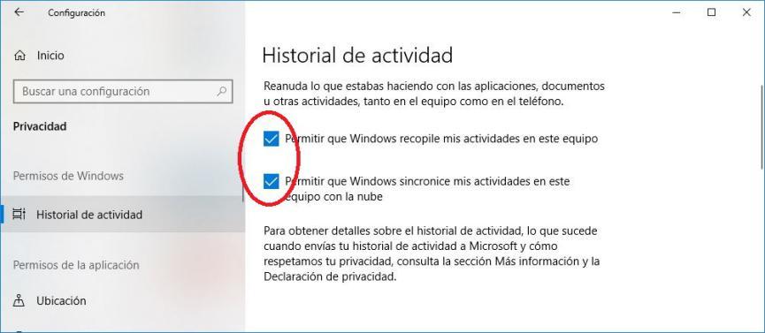 linea de tiempo en Windows 10