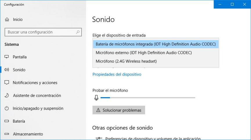 Configuración de Audio Windows 10