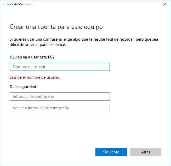 Cuenta Local en Windows 10