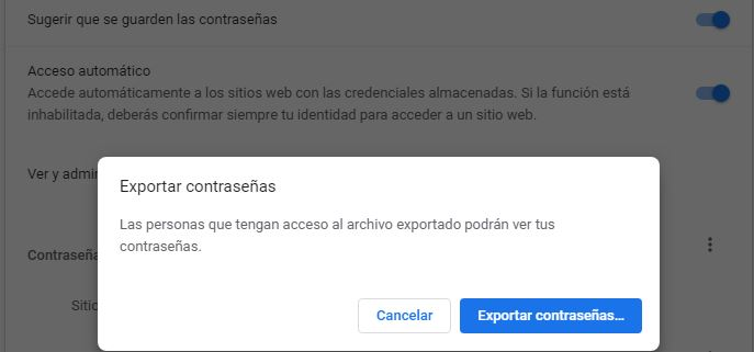recuperar claves de Chrome