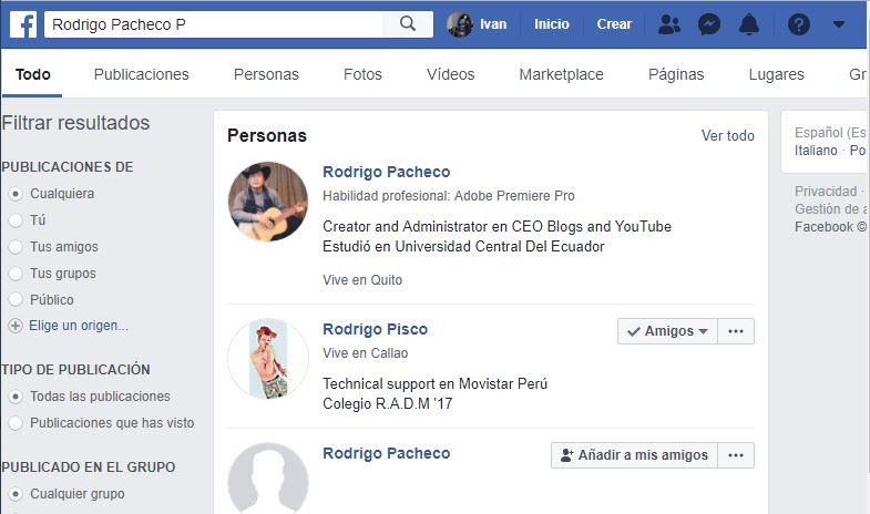 Perfiles de Facebook anonimamente