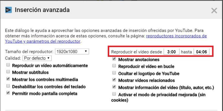 Videos de YouTube iniciar en tiempo