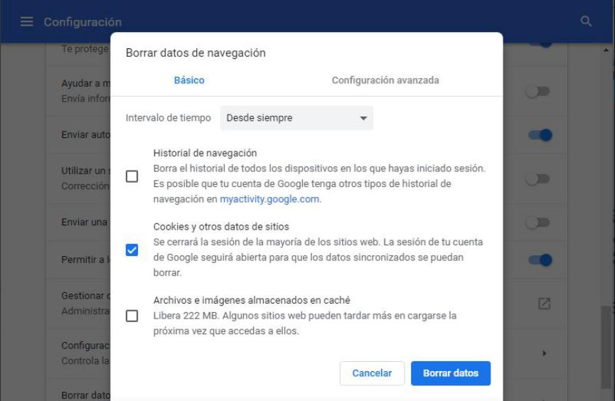 borrar cookies en Google Chrome