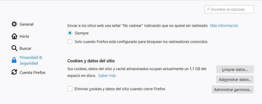 borrar cookies en Firefox